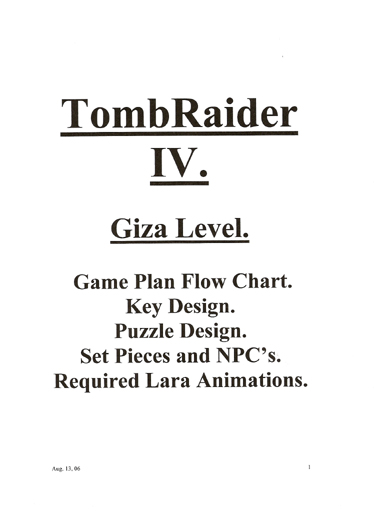 Tomb Raider 4 – The Great Pyramid Design document